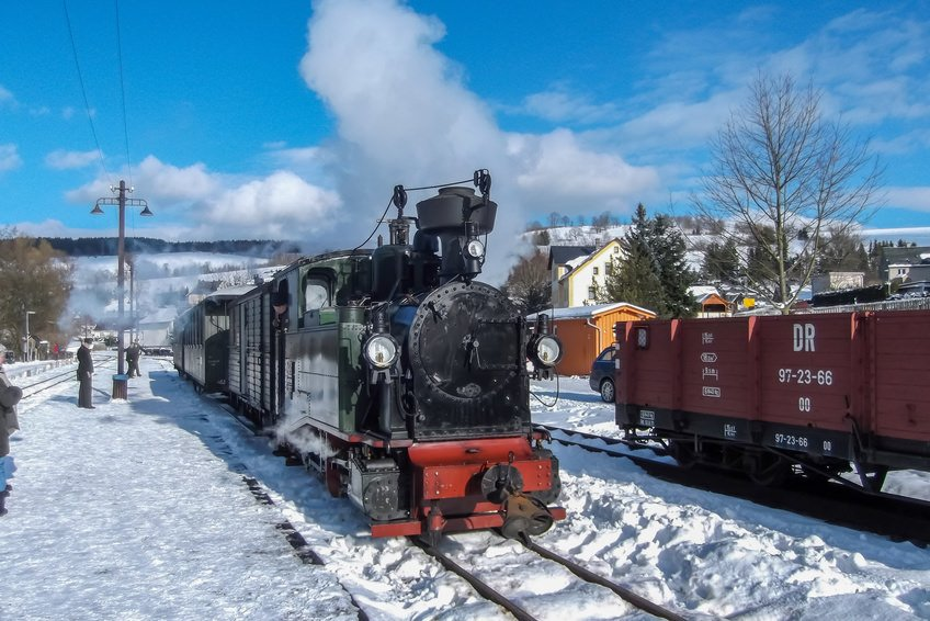 Fichtelbergbahn steamy train