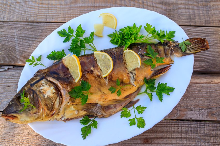 German baked carp with parsley