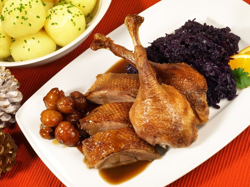 German Goose Roast with Red cabbage
