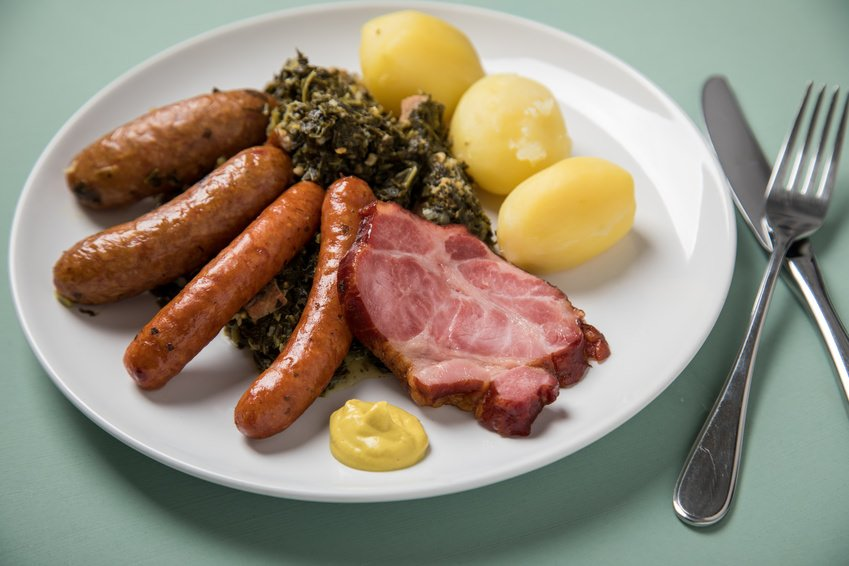 German Kale with sausages, Kasseler bacon, potatoes and mustard